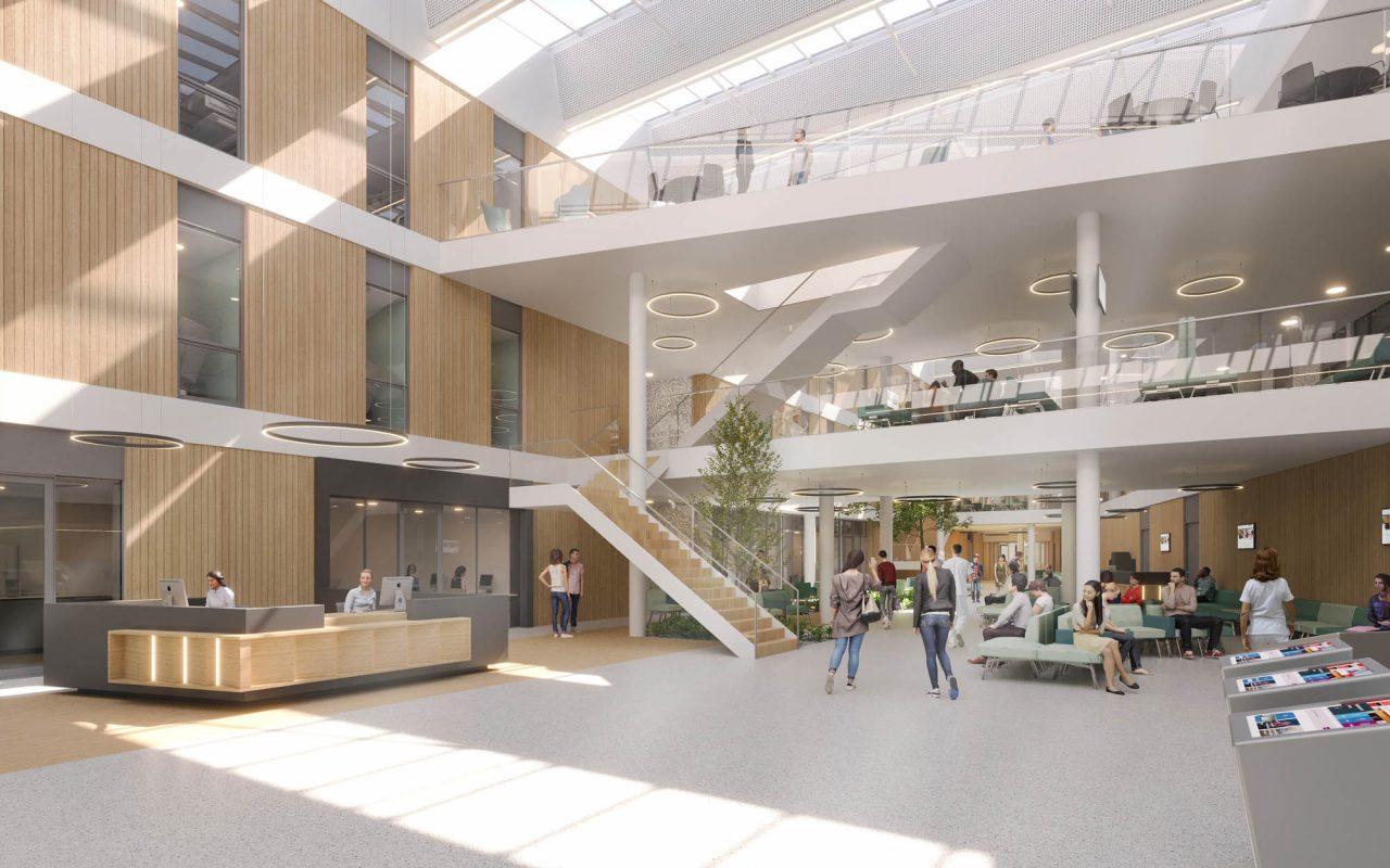 Het centrale atrium van het Rijnstate ziekenhuis in Elst
